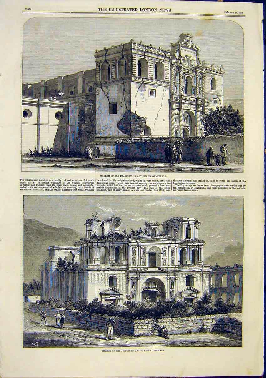Print Church Antigua De Guatemala Jesuits San Fransisco 1859 56Maa0 Old Original