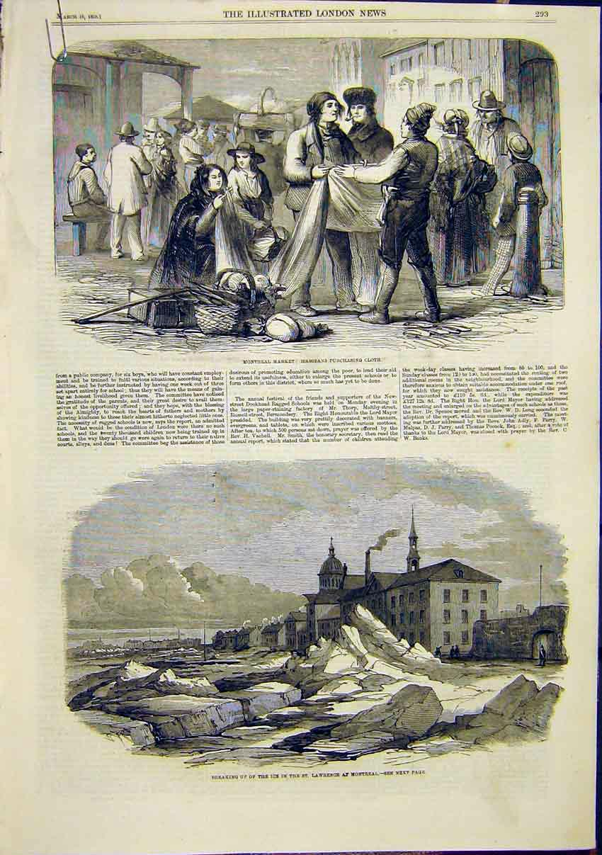Print Montreal Market Cloth Ice St Lawrence 1859 93Amaa0 Old Original