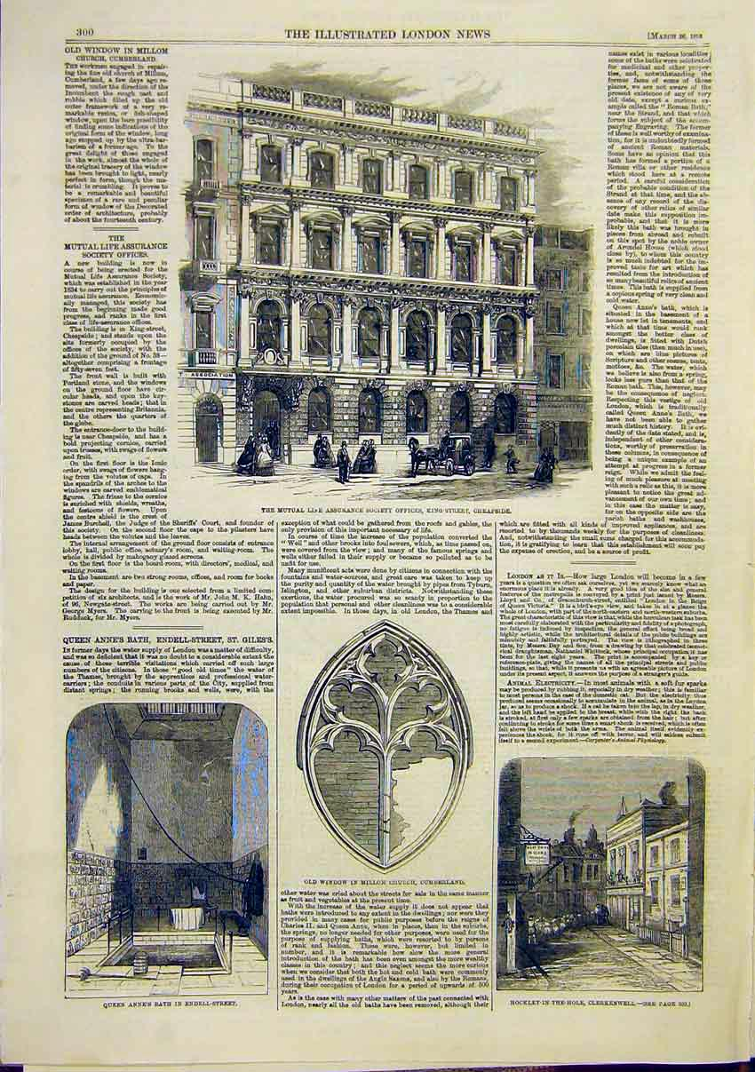 Print Mutual Life Insurance Cheapside Endell Clerkenwall 00Maa0 Old Original