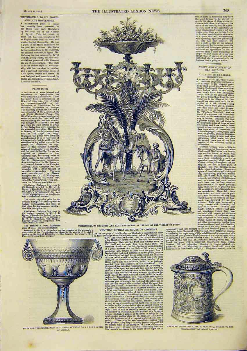 Print Montefiore Prize Turnips Horner Seagrave Tankard 1859 09Maa0 Old Original