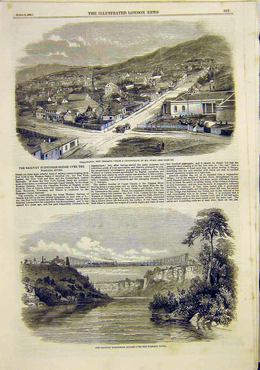 Print Wellington New Zealand Railway Suspension Niagara 1859 57Maa0 Old Original