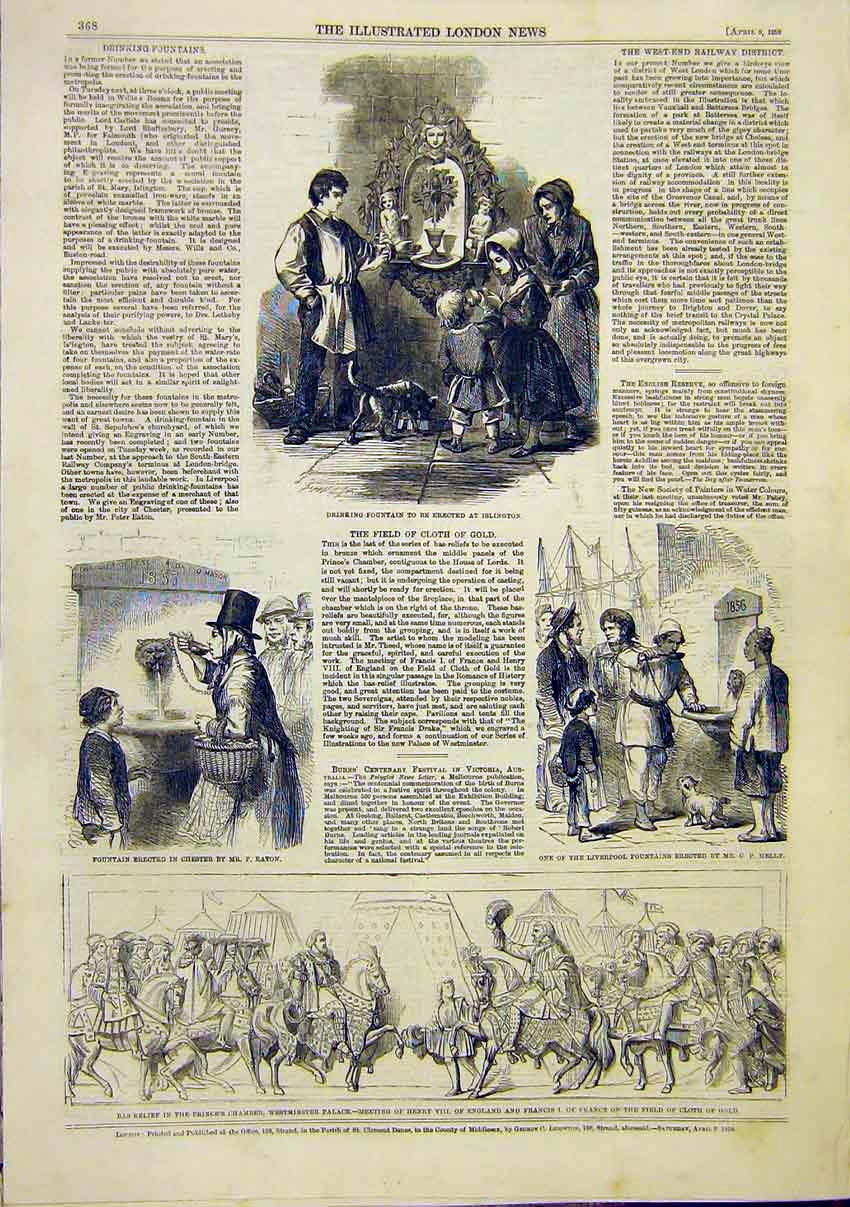 Print Fountain Islington Chester Liverpool Bas Relief 1859 68Maa0 Old Original