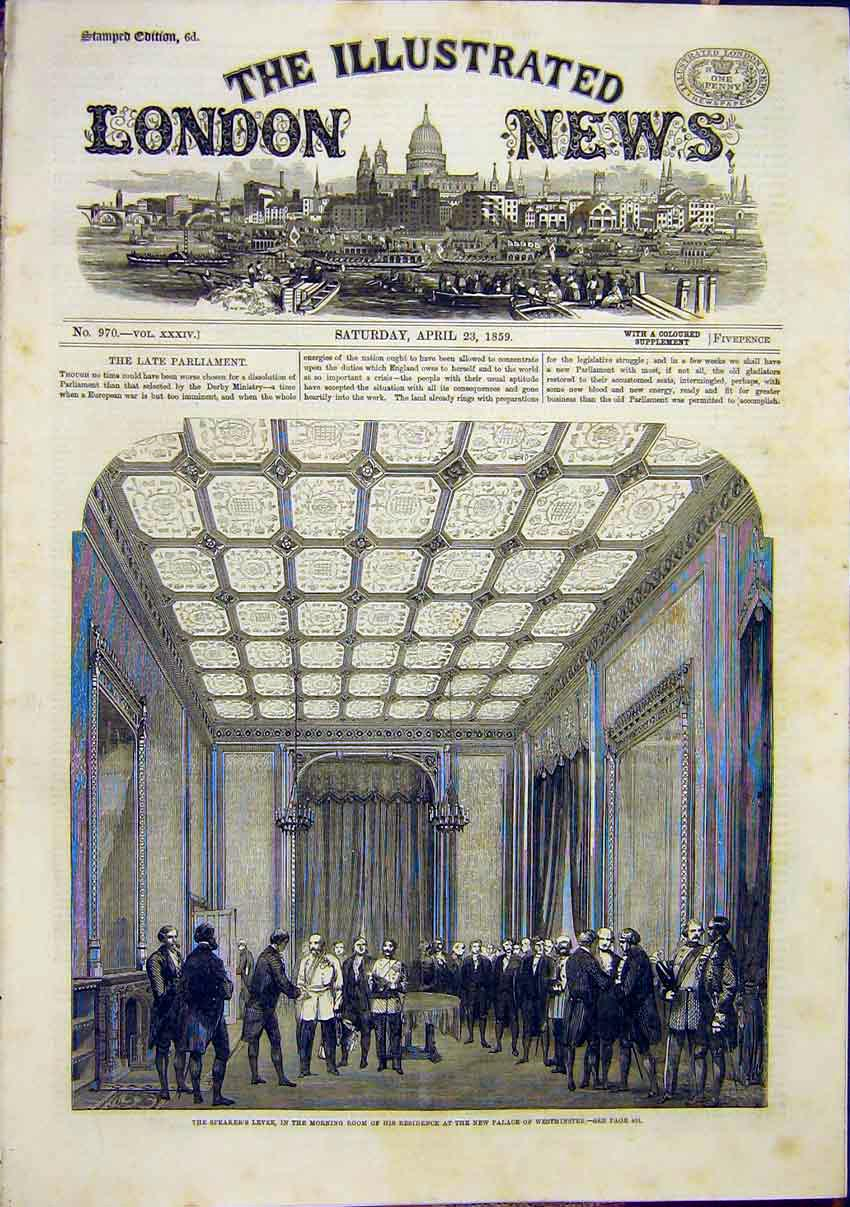 Print Speakers Levee Palace Westminster 1859 94Maa0 Old Original