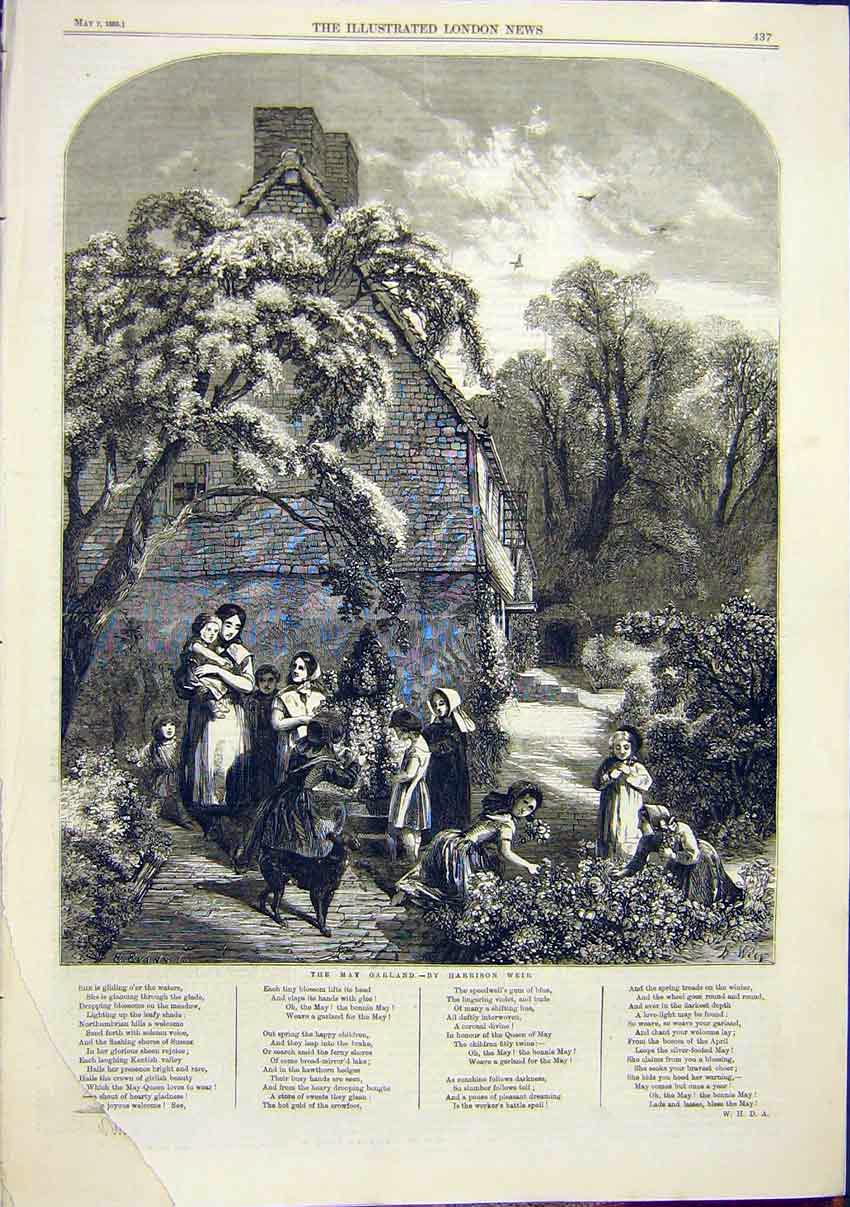Print May Garland Harrison Weir 1859 37Maa0 Old Original