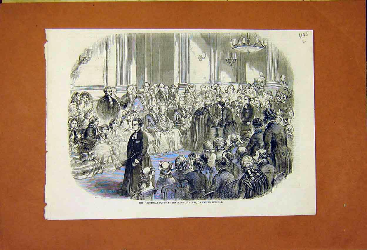 Print Bluecoat Boys Mansion House Easter 1859 45Lmaa0 Old Original
