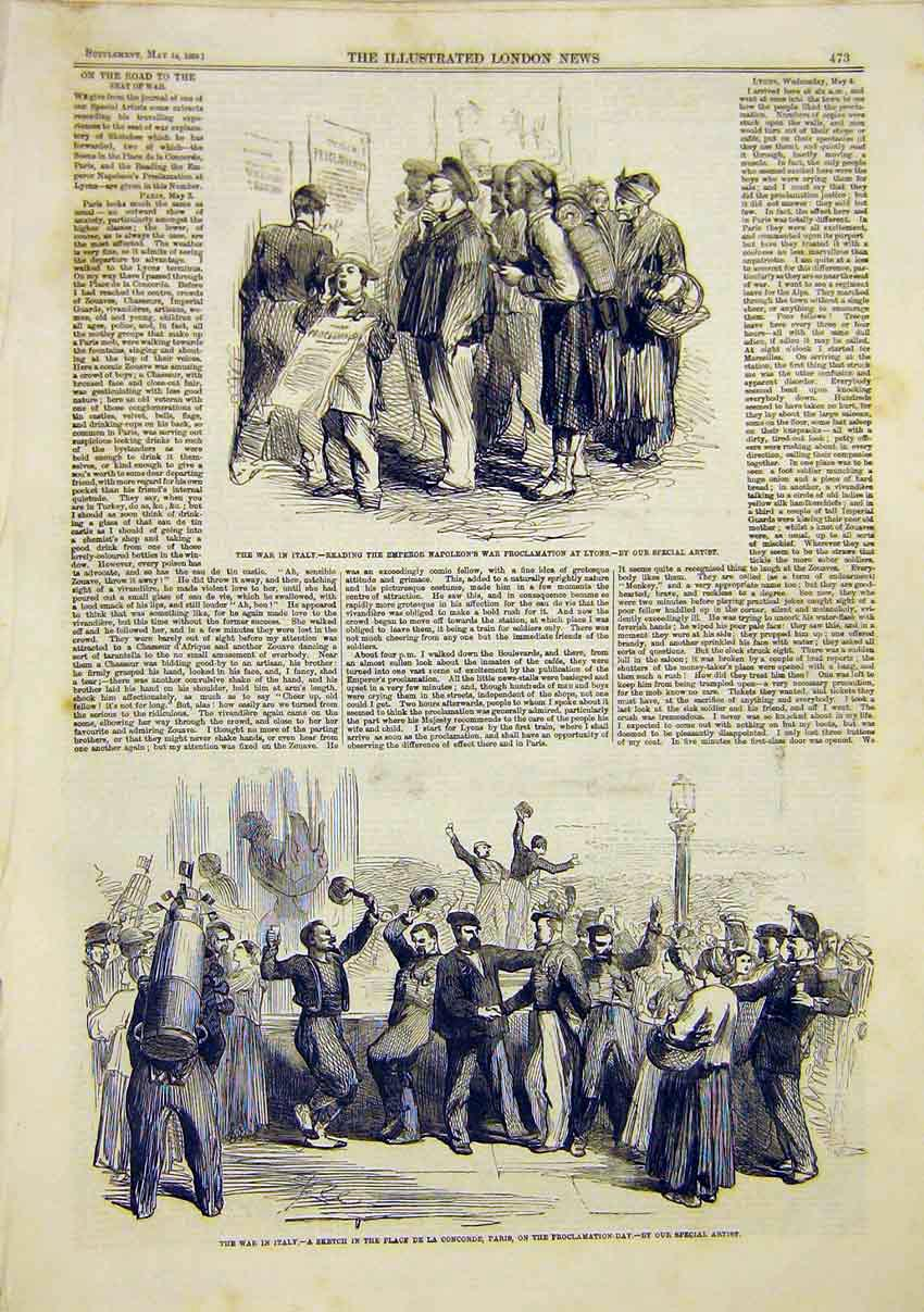 Print War Italy Sketch Lyons Concorde Paris Proclomation 1859 73Maa0 Old Original