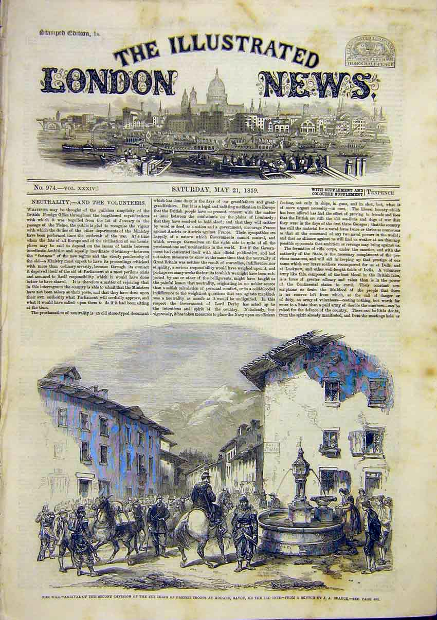 Print Italy War French Troops Modan Savoy Sketch Beauce 1859 82Maa0 Old Original