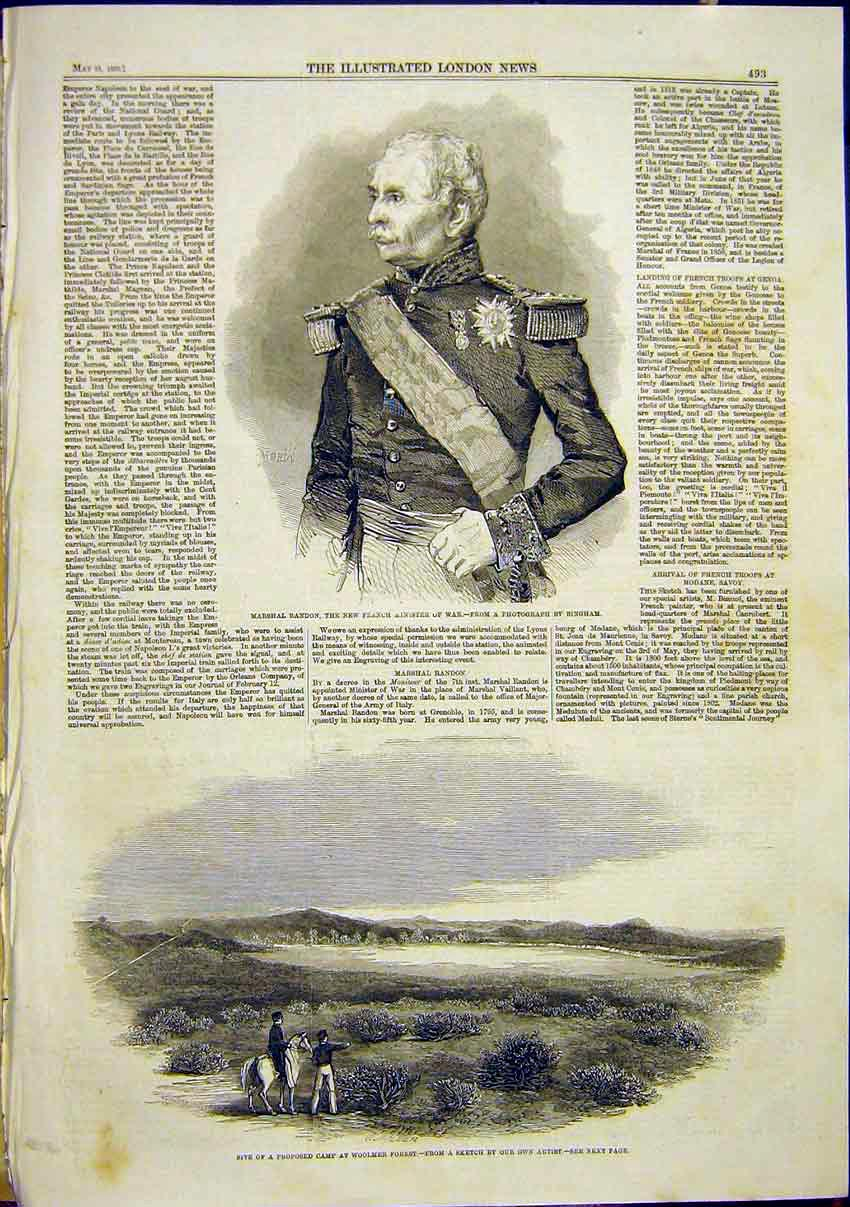 Print Portrait Randon French Minister War Woolmer Forest 1859 93Maa0 Old Original