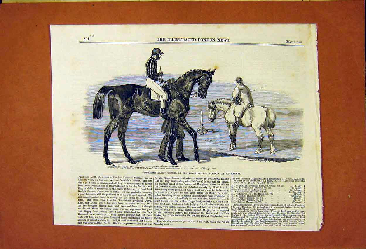 Print Promised Land Two Thousand Guineas Newmarket 1859 04Umaa0 Old Original