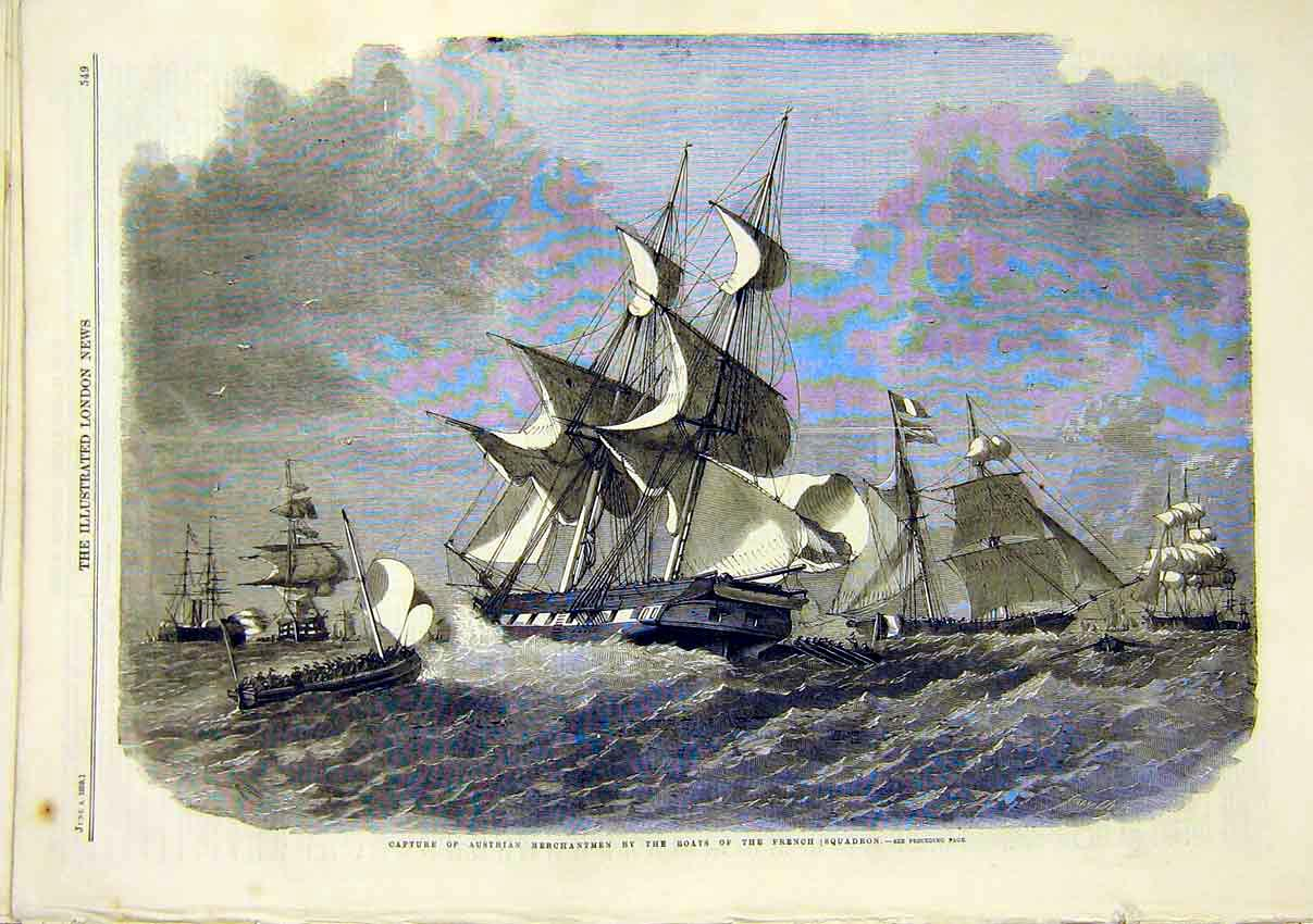 Print Austrian Merchantmen Boats French Squadron 1859 49Maa0 Old Original
