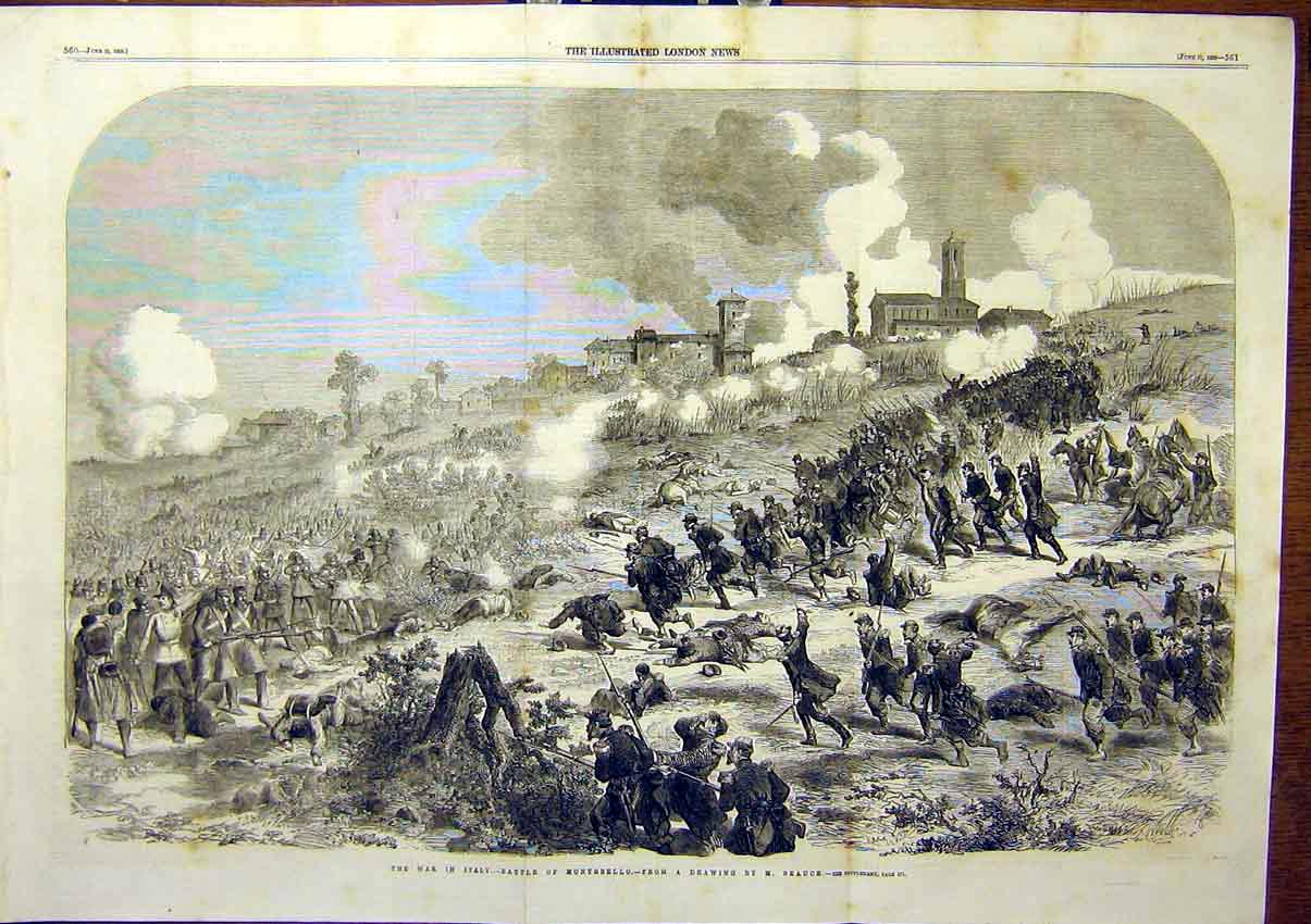 Print Battle Montebello Italy Beauce 1859 61Tmaa0 Old Original