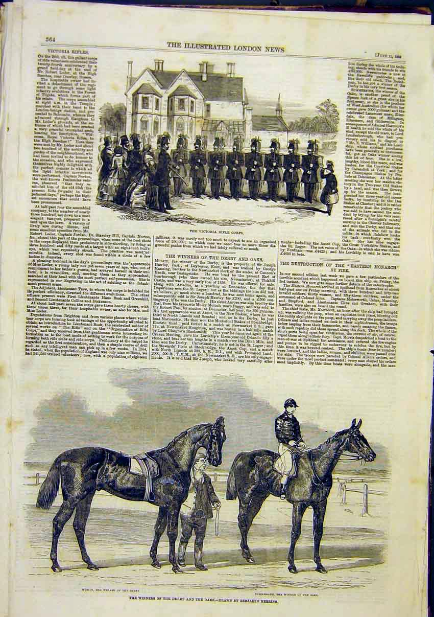 Print Victoria Rifle Corps Derby Oaks Musjid Summerside 1859 64Maa0 Old Original