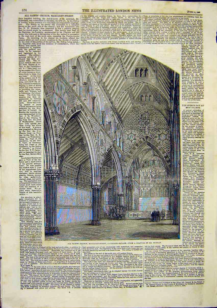 Print All Saints Church Cavendish Square Murray Building 1859 76Maa0 Old Original