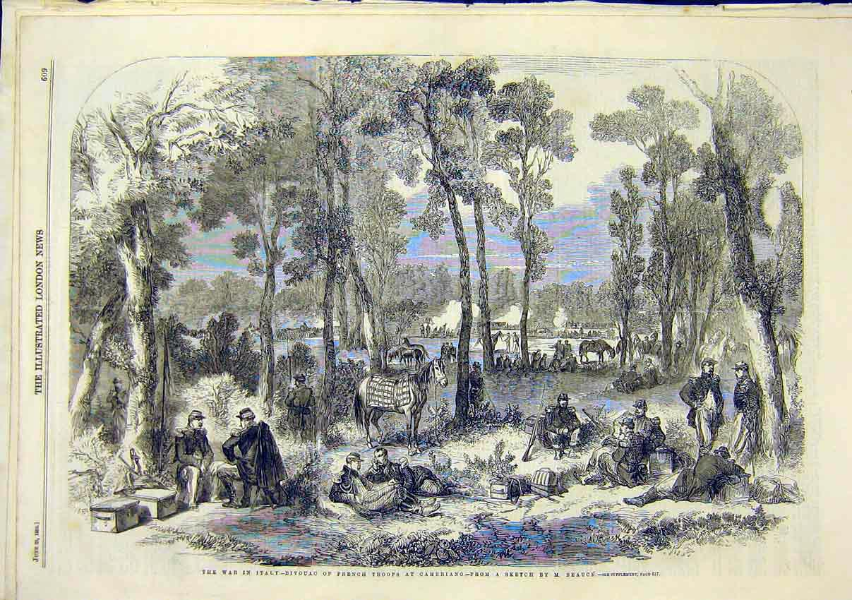 Print War Italy Bivouac French Troops Cameriano Beauce 1859 09Maa0 Old Original