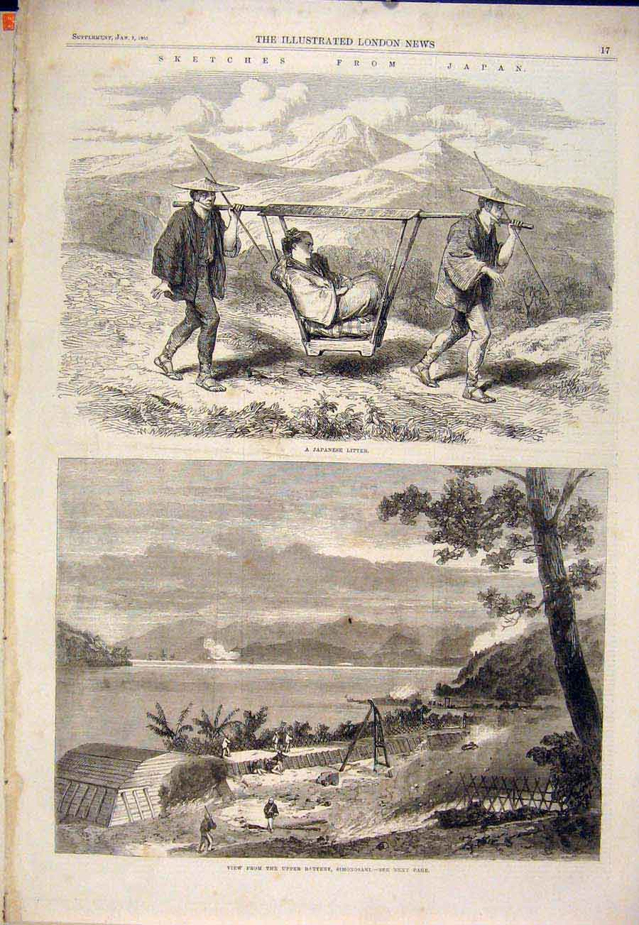 Print Sketches Japan Japanese Litter Simonsaki Battery 1865 17Maa0 Old Original