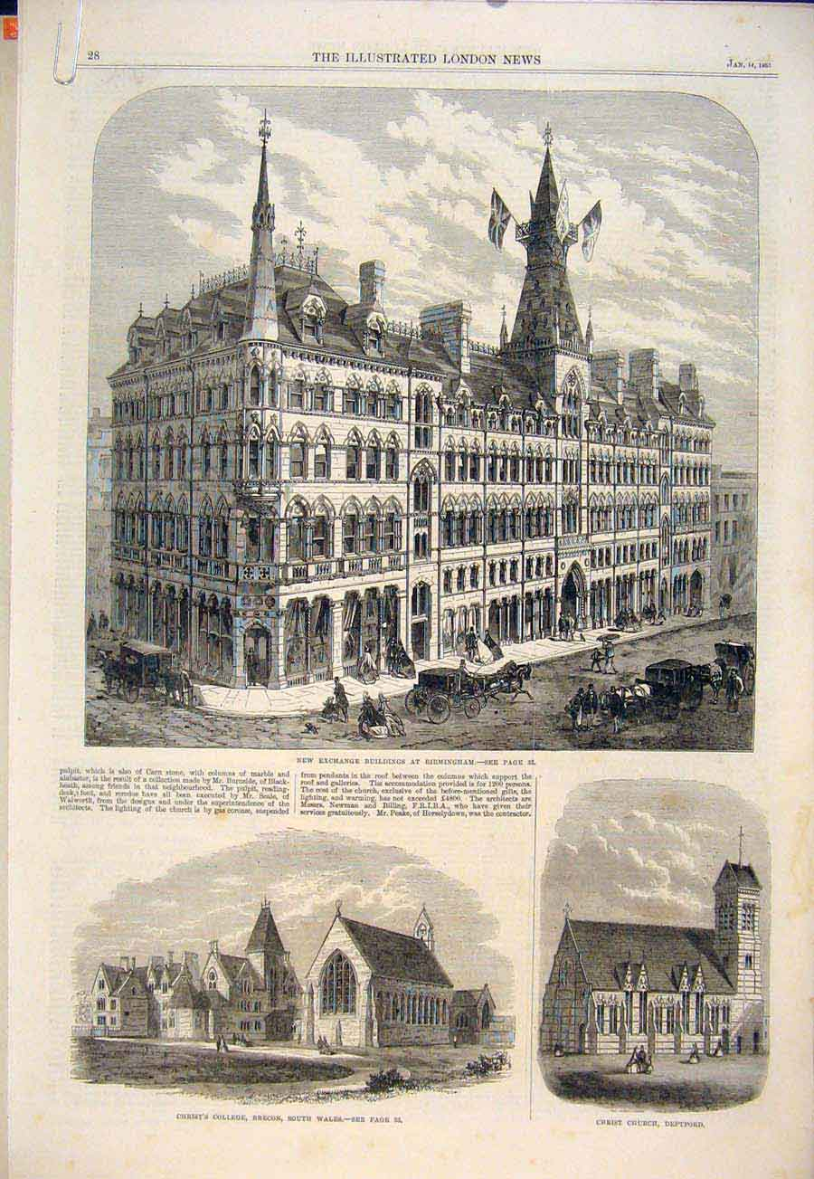 Print Exchange Building Birmingham College Brecon Church 1865 28Amaa0 Old Original