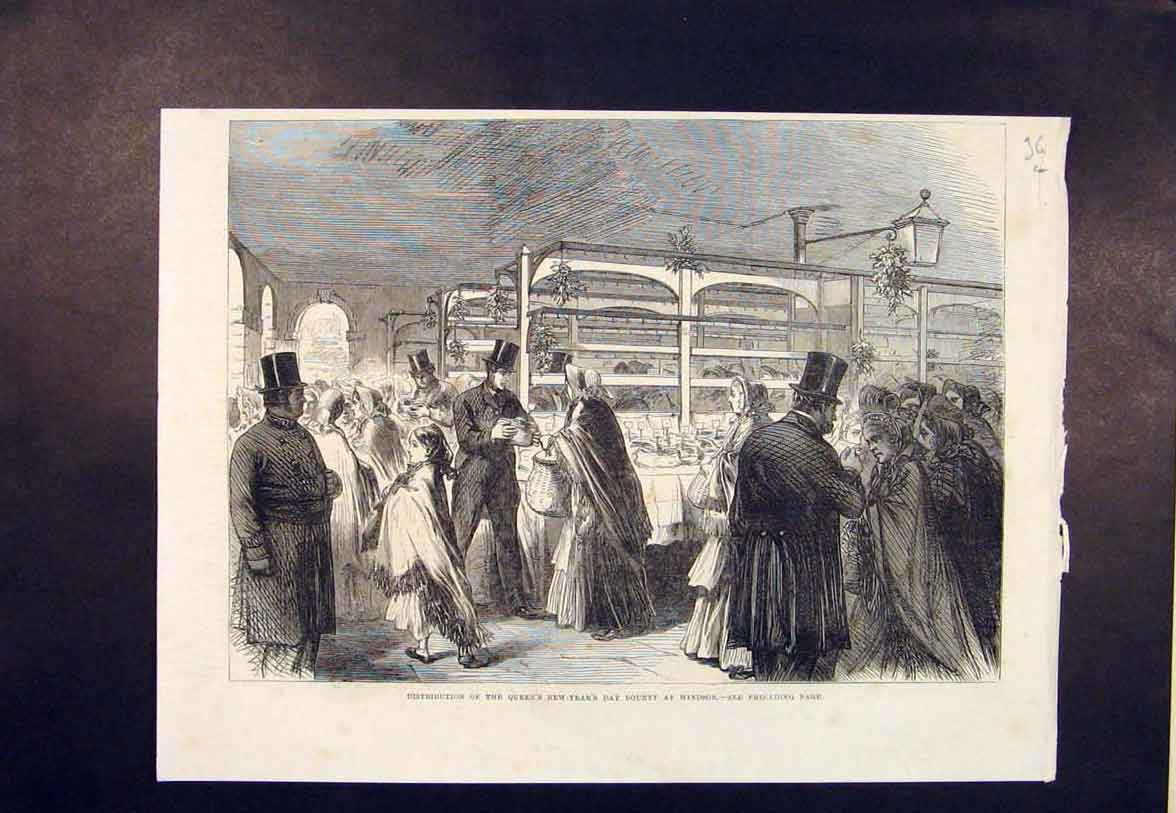 Print Windsor Castle Queen New Year Bounty London 1865 36Lmaa0 Old Original