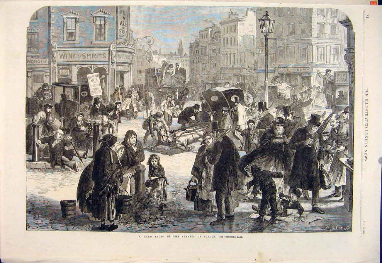 Print Frost Streets London Winter Weather 1865 84Maa0 Old Original