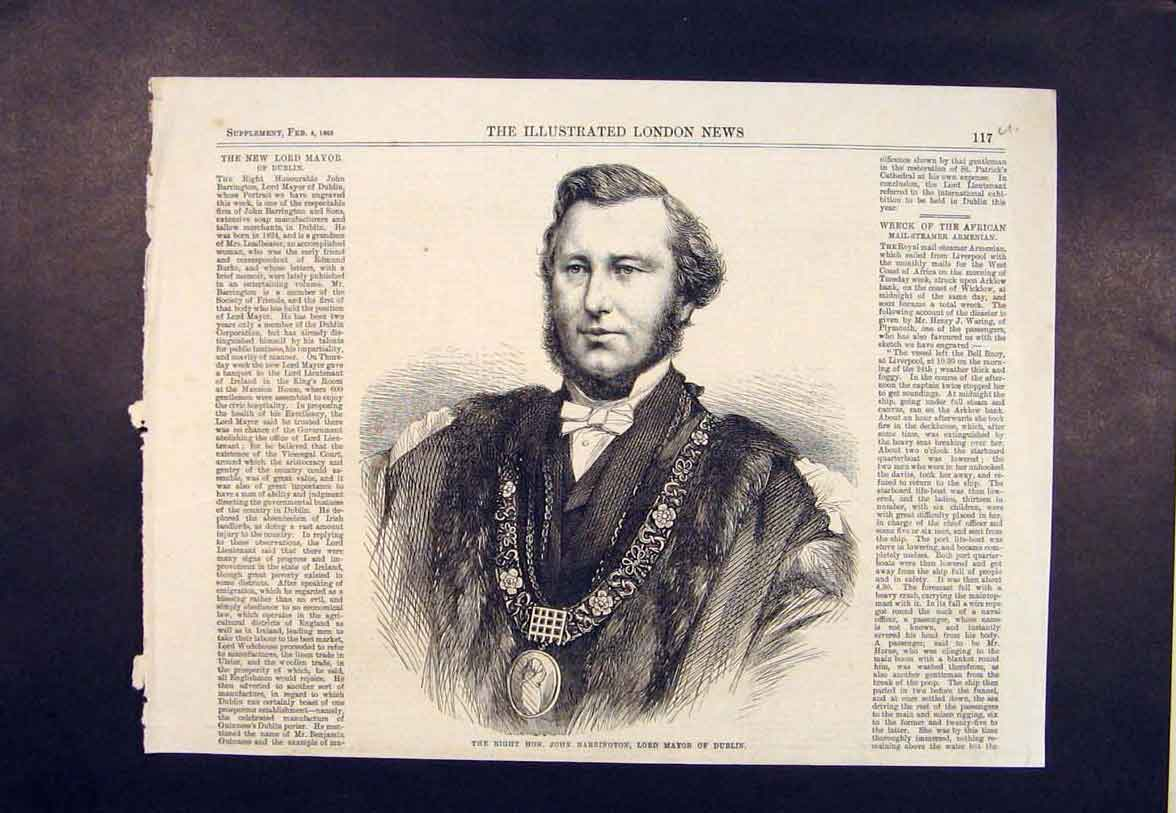 Print Portrait Barrington Lord Mayor Dublin Ireland 1865 17Umaa0 Old Original