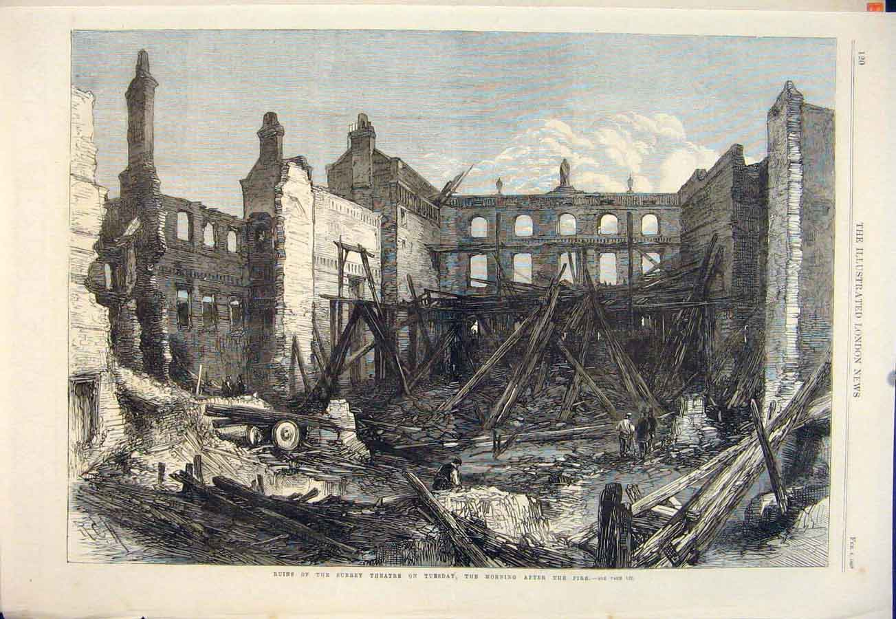 Print Surrey Theatre Fire London Building 1865 20Maa0 Old Original