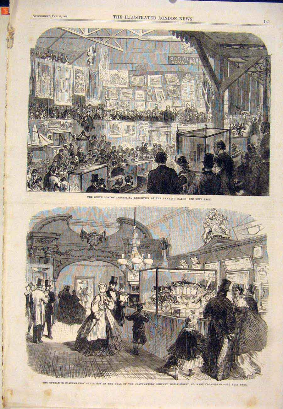 Print London Industrial Exhibition Lambeth Coachmaker'S Noble 41Maa0 Old Original