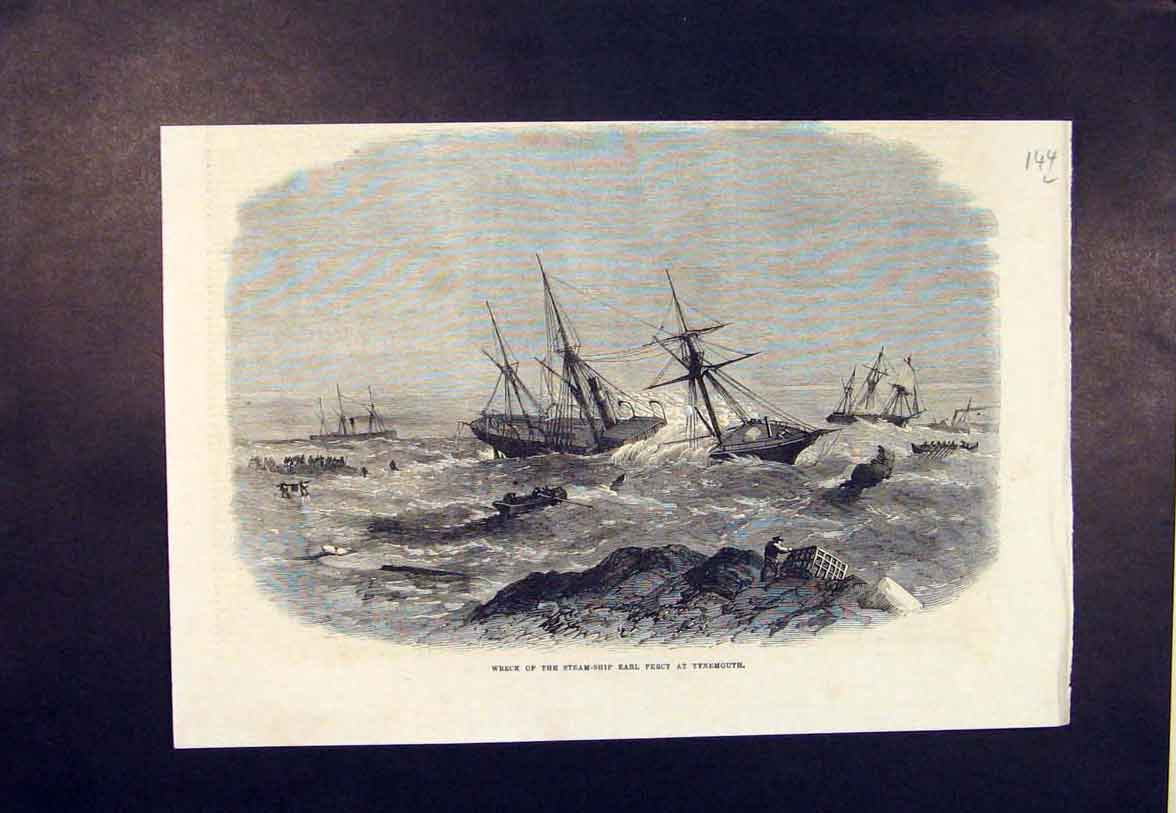 Print Wreck Steam Ship Earl Percy Tynemouth 1865 44Lmaa0 Old Original