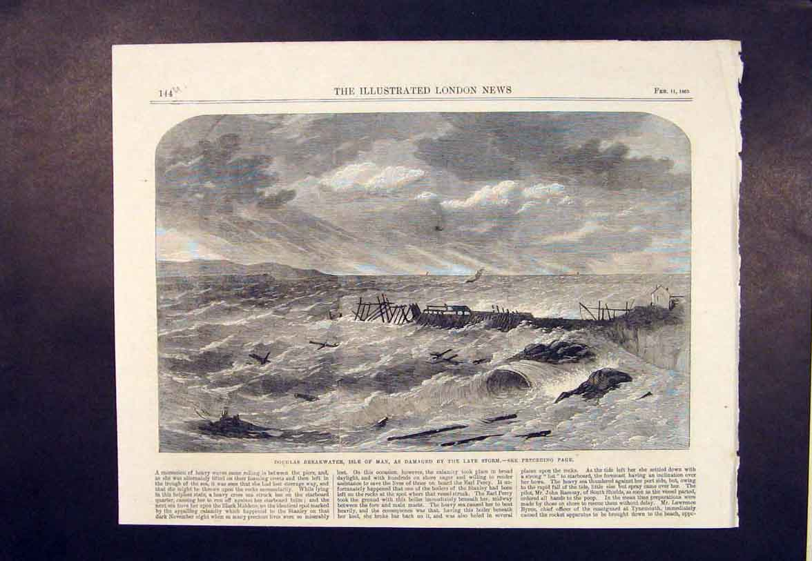 Print Douglas Breakwater Isle Man Storm Beach Sea 1865 44Umaa0 Old Original