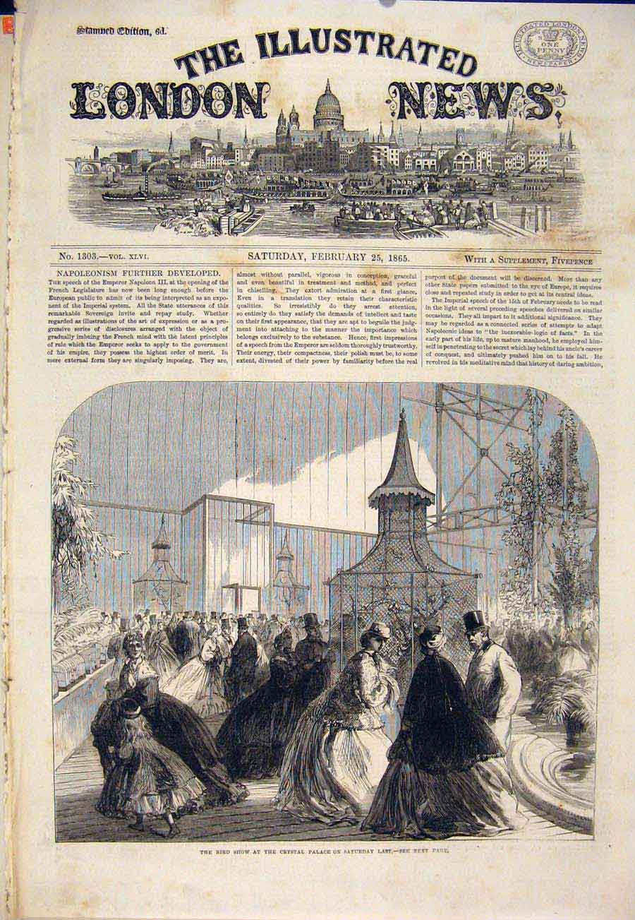 Print Bird Show Crystal Palace London Birds 1865 74Maa0 Old Original