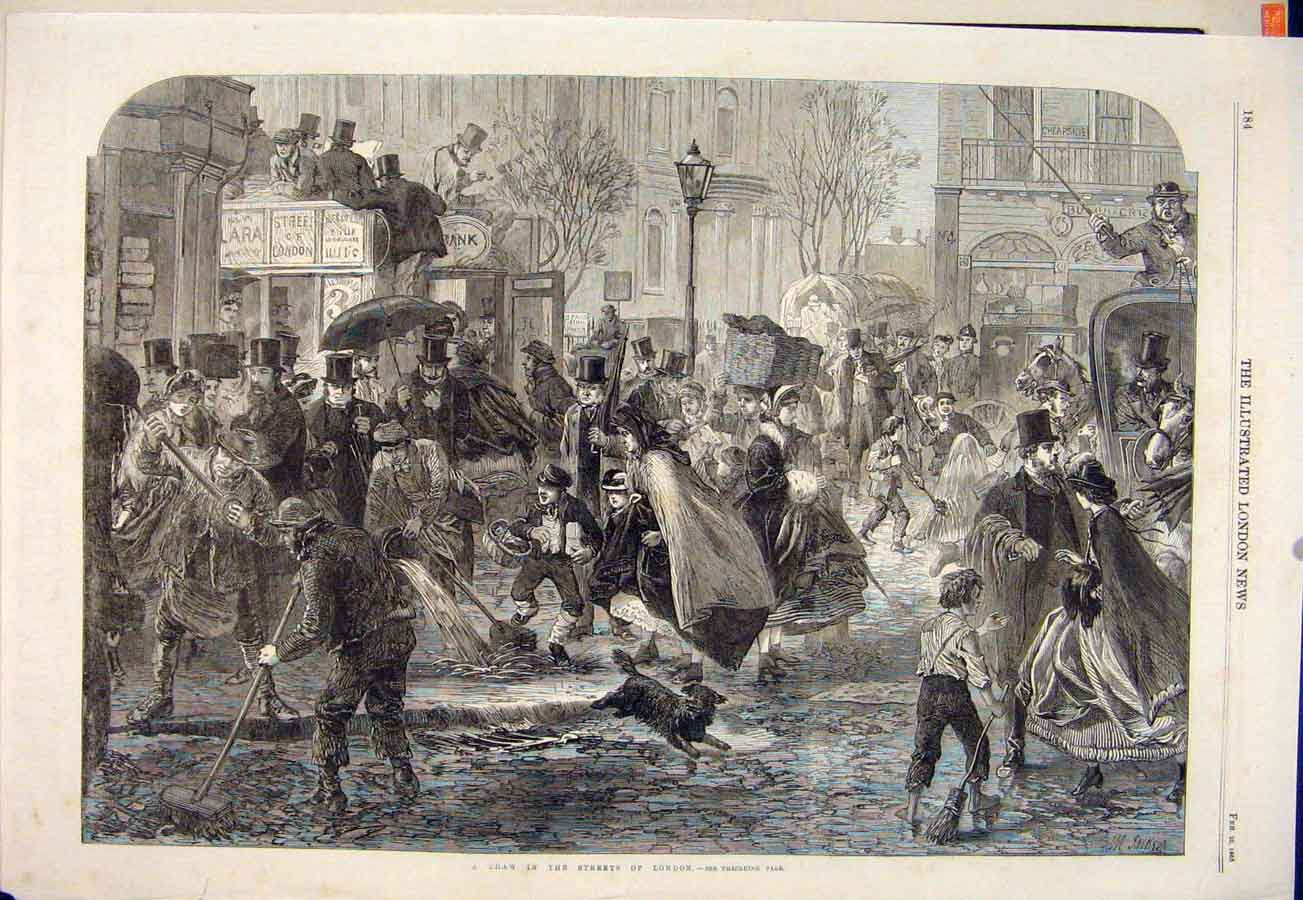 Print Thaw Winter Weather London Streets Water 1865 84Maa0 Old Original