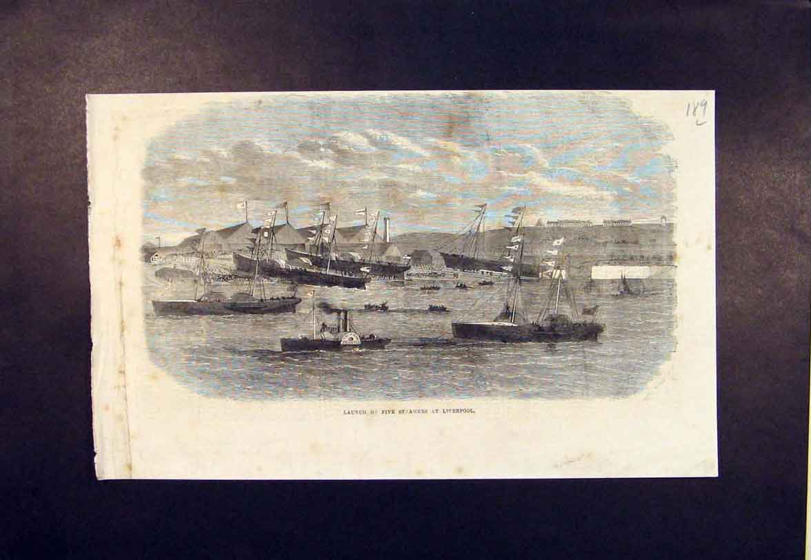 Print Steamers Liverpool Launch 1865 89Lmaa0 Old Original