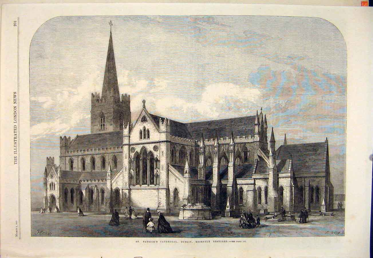 Print St Patrick'S Cathedral Dublin Ireland Restored 1865 01Maa0 Old Original