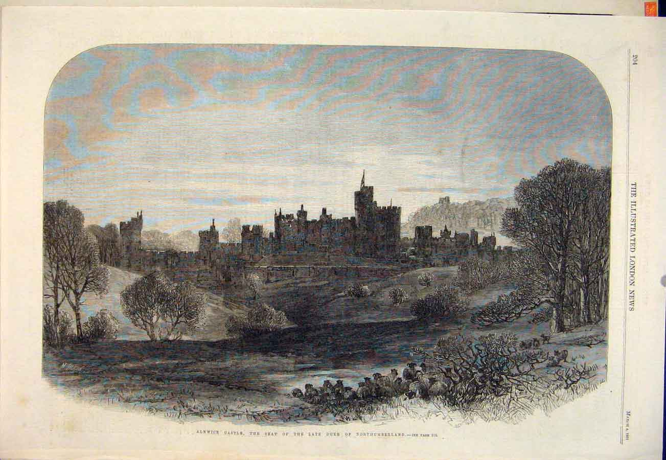 Print Alnwick Castle Duke Northumberland 1865 04Maa0 Old Original