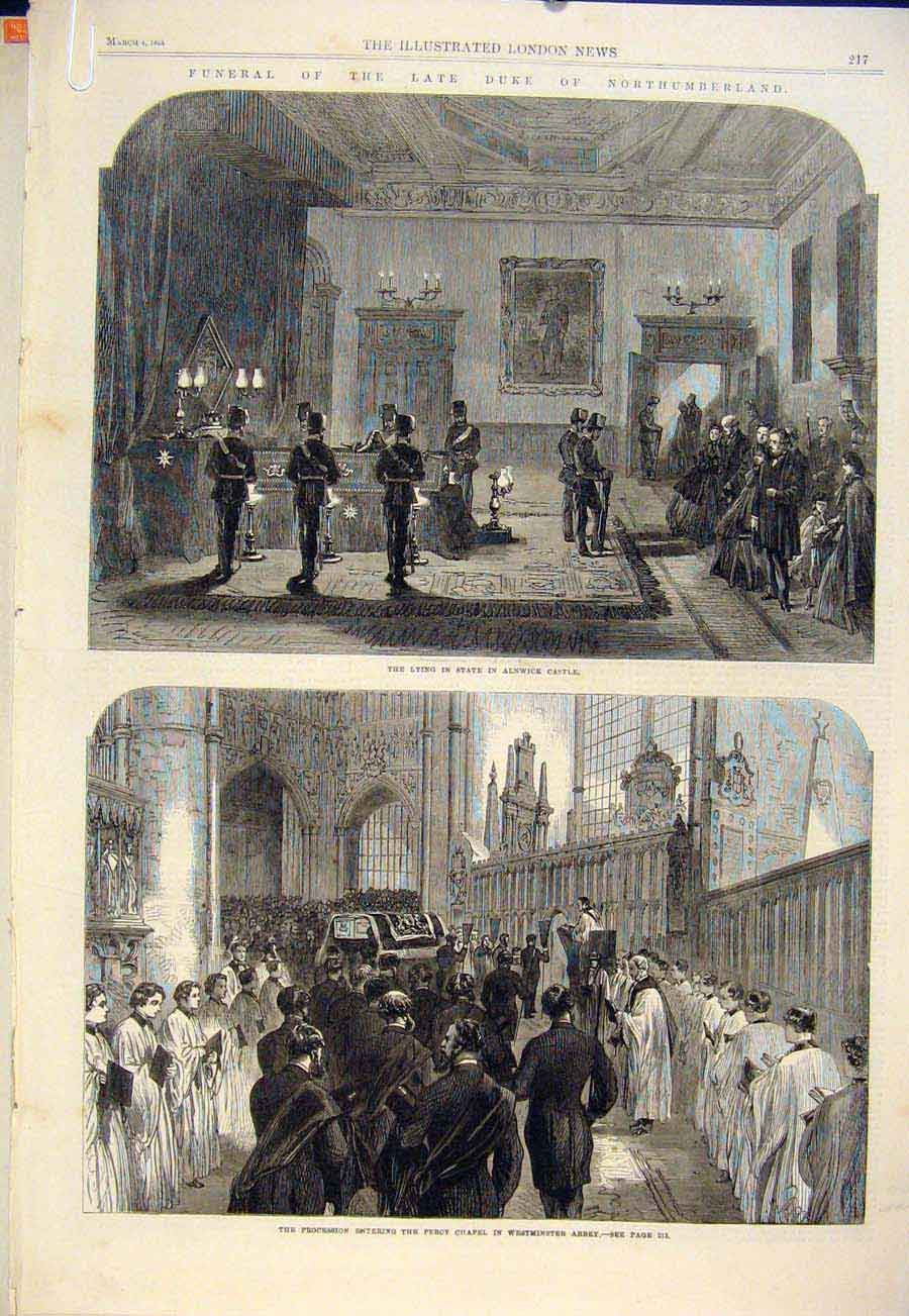 Print Duke Northumberland Alnwick Castle Westminster Abbey 17Amaa0 Old Original