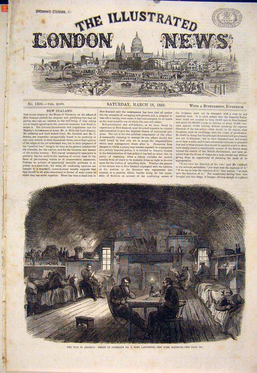 Print War America Fort Lafayette New York Harbour Usa 1865 46Maa0 Old Original