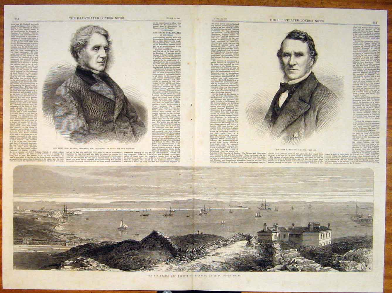 Print Portrait Cardwell Hawkshaw Holyhead Harbour Anglesey 51Tmaa0 Old Original