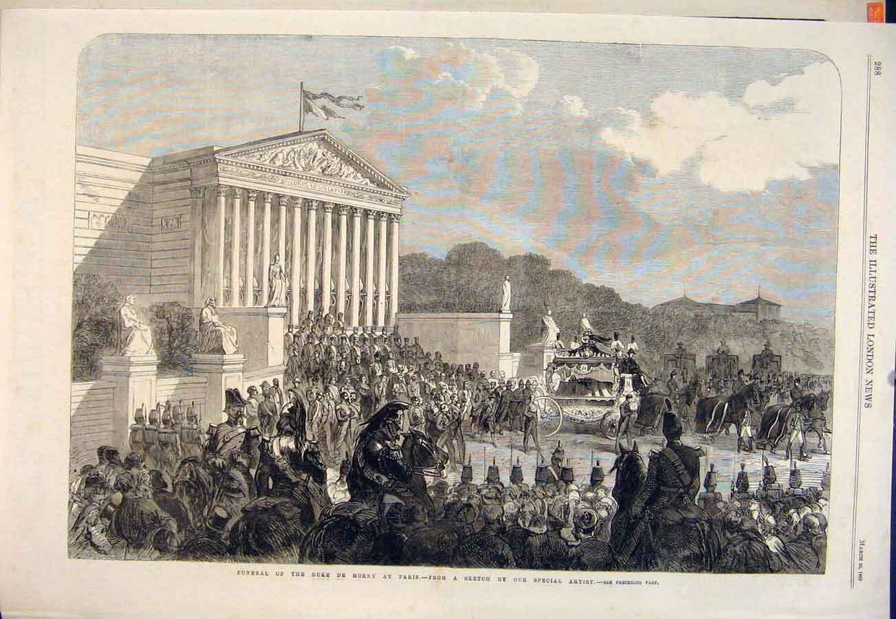 Print Funeral Duke De Morny Paris France Procession 1865 88Maa0 Old Original
