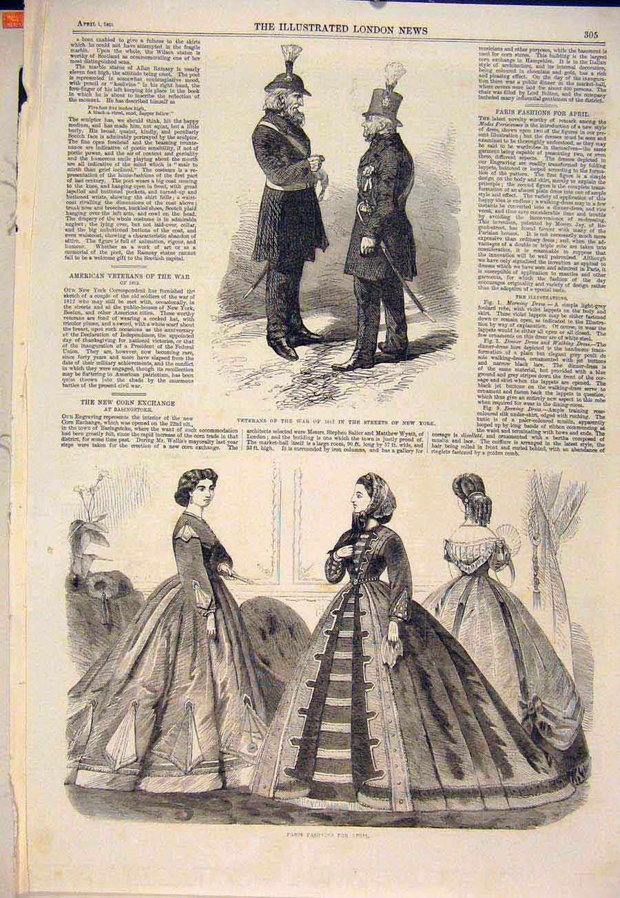 Print Veterans War 1812 New York Usa Paris Fashions 1865 05Maa0 Old Original