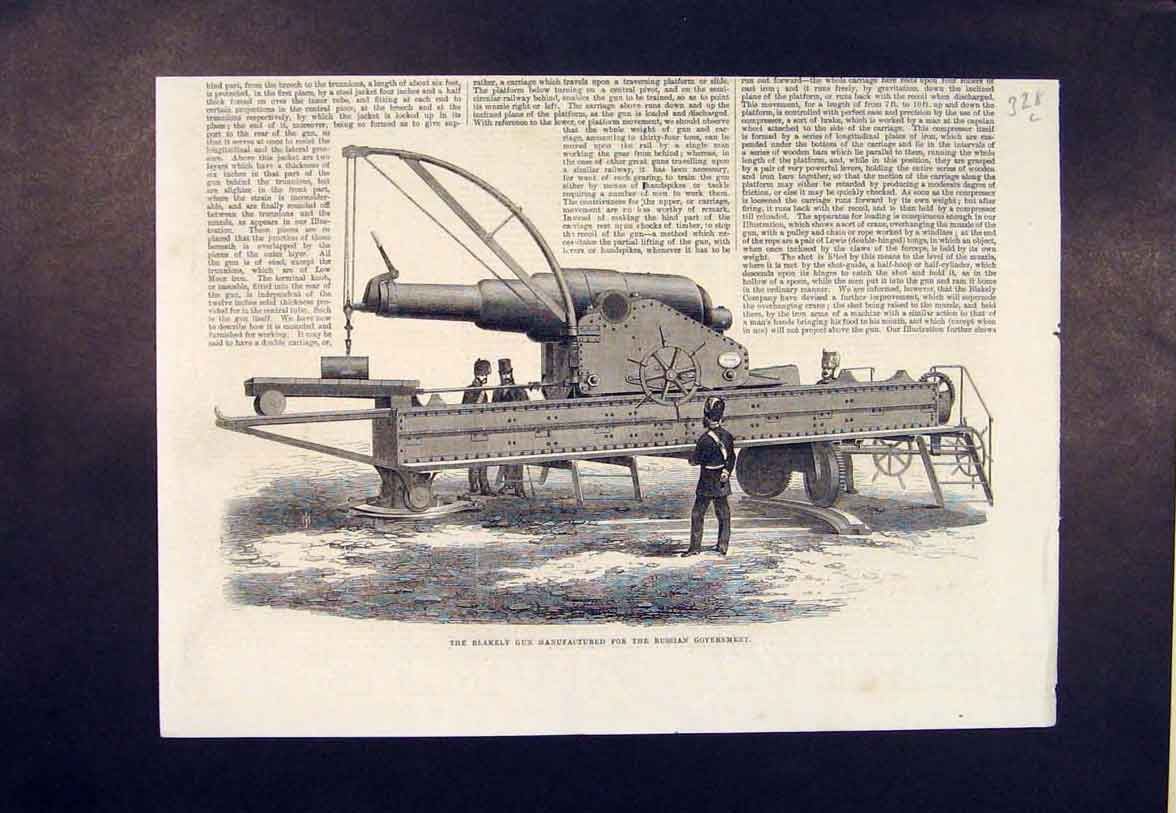 Print Blakely Gun Russian Government 1865 28Lmaa0 Old Original