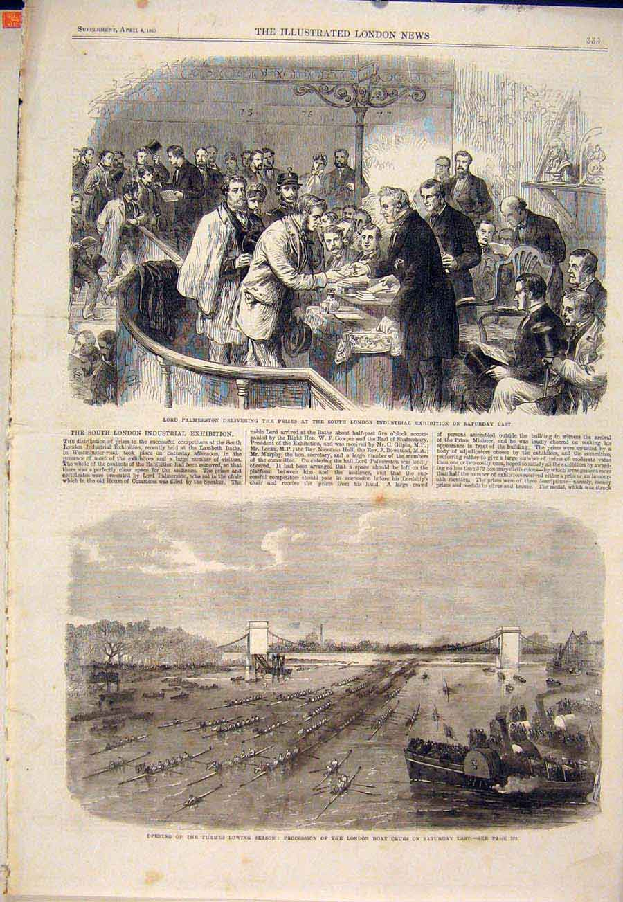 Print Plamerston Industrial Exhibition London Thames Rowing 33Maa0 Old Original