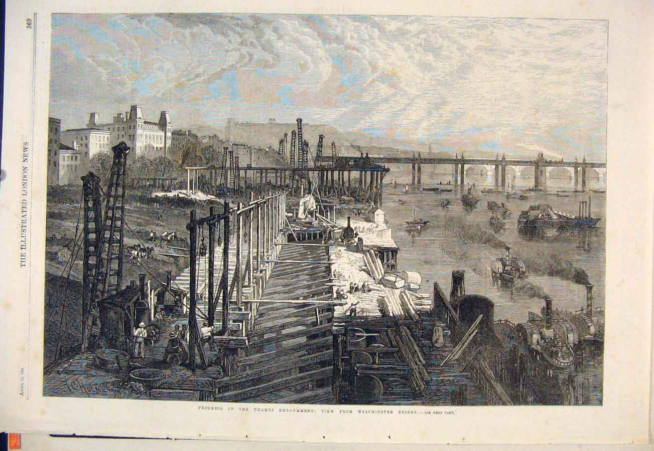 Print Thames Embankment Westminster Bridge 1865 69Maa0 Old Original