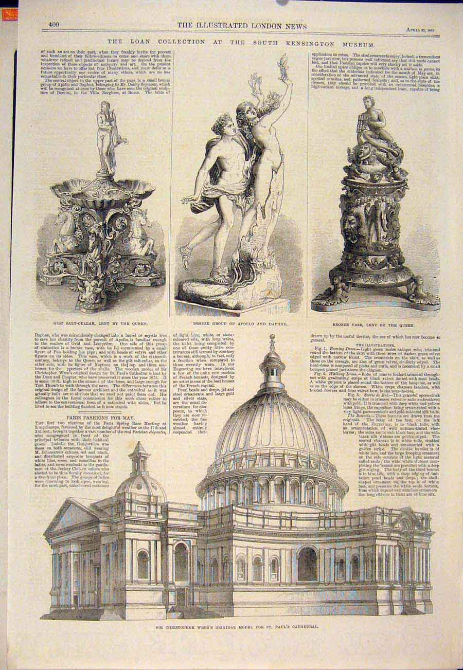 Print Christopher Wren St Paul'S Cathedral London Museum 1865 00Maa0 Old Original