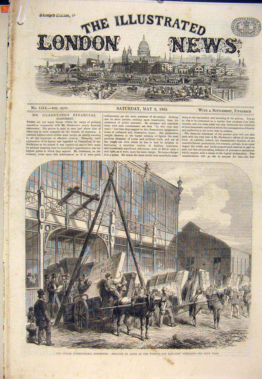 Print Dublin Exhibition Garden Fountain Adelphi Theatre 1865 24Amaa0 Old Original