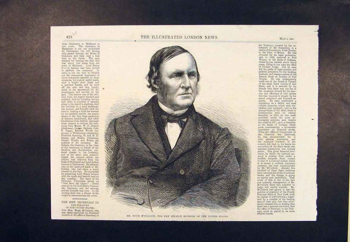 Print Portrait M'Culloch Finance Minister United States Usa 28Umaa0 Old Original