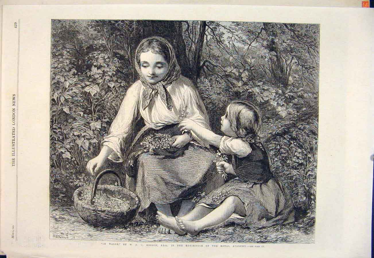 Print Lady Child Forest Dobson Im Walde Flowers Fine Art 1865 29Maa0 Old Original