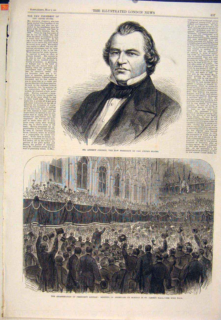 Print Portrait Johnson United States President Lincoln 1865 37Maa0 Old Original