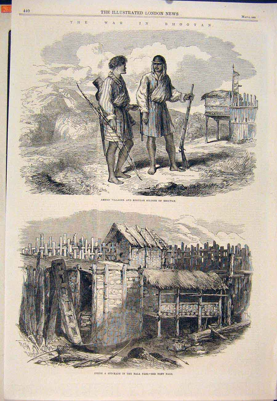 Print War Bhootan Soldier Villager Bala Pass Stockade 1865 40Maa0 Old Original