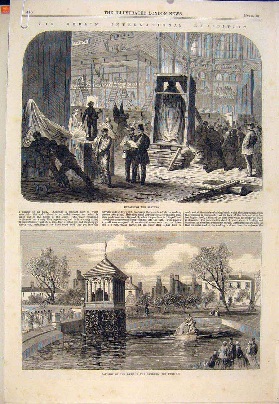 Print Dublin Exhibition Statue Pavilion Lake Building Ireland 48Amaa0 Old Original