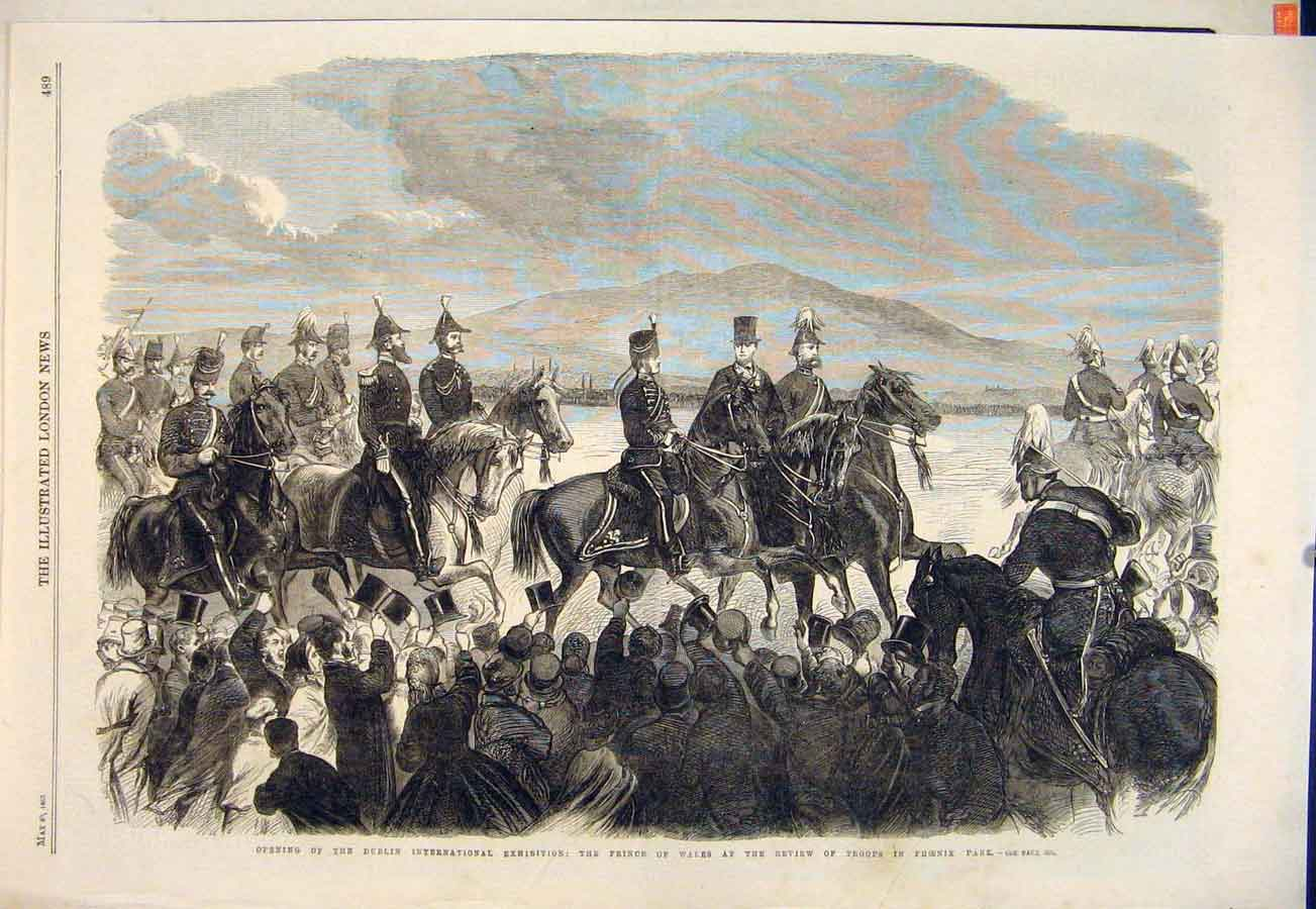 Print Dublin Exhibition Review Troops Phoenix Prince Wales 89Maa0 Old Original