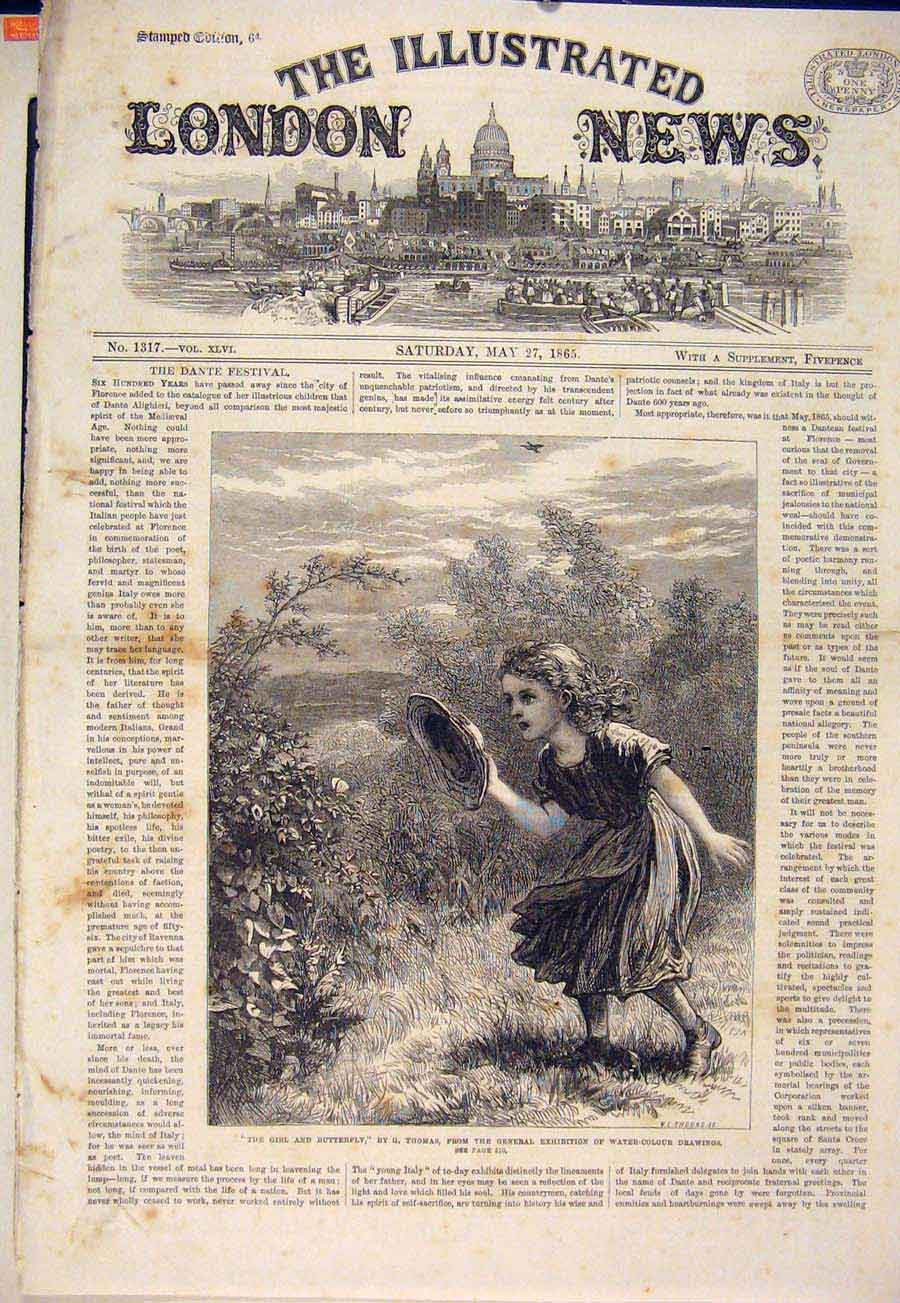 Print Girl Butterfly Thomas Fine Art 1865 94Maa0 Old Original