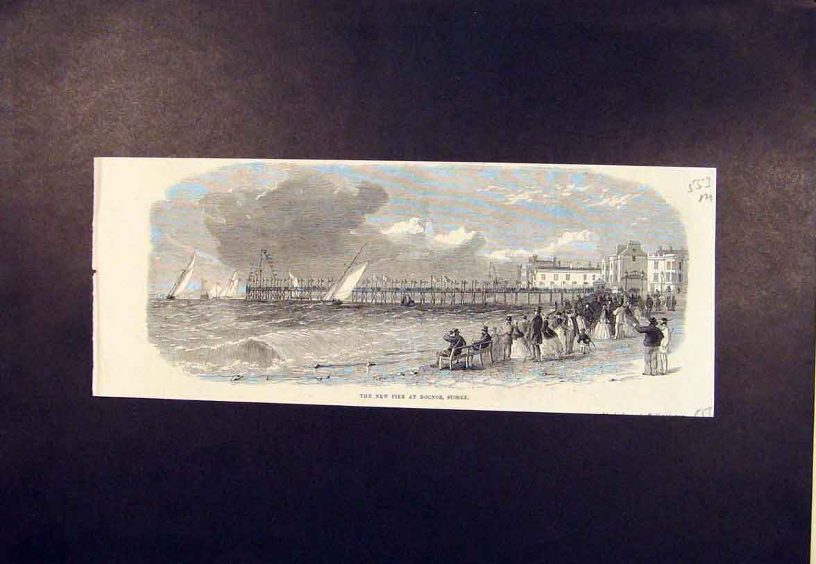 Print New Pier Bognor Sussex Beach Sea 1865 53Mmaa0 Old Original